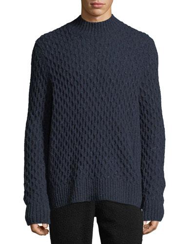 Men's Mock-Neck Honeycomb Knit Wool-Blend Sweater