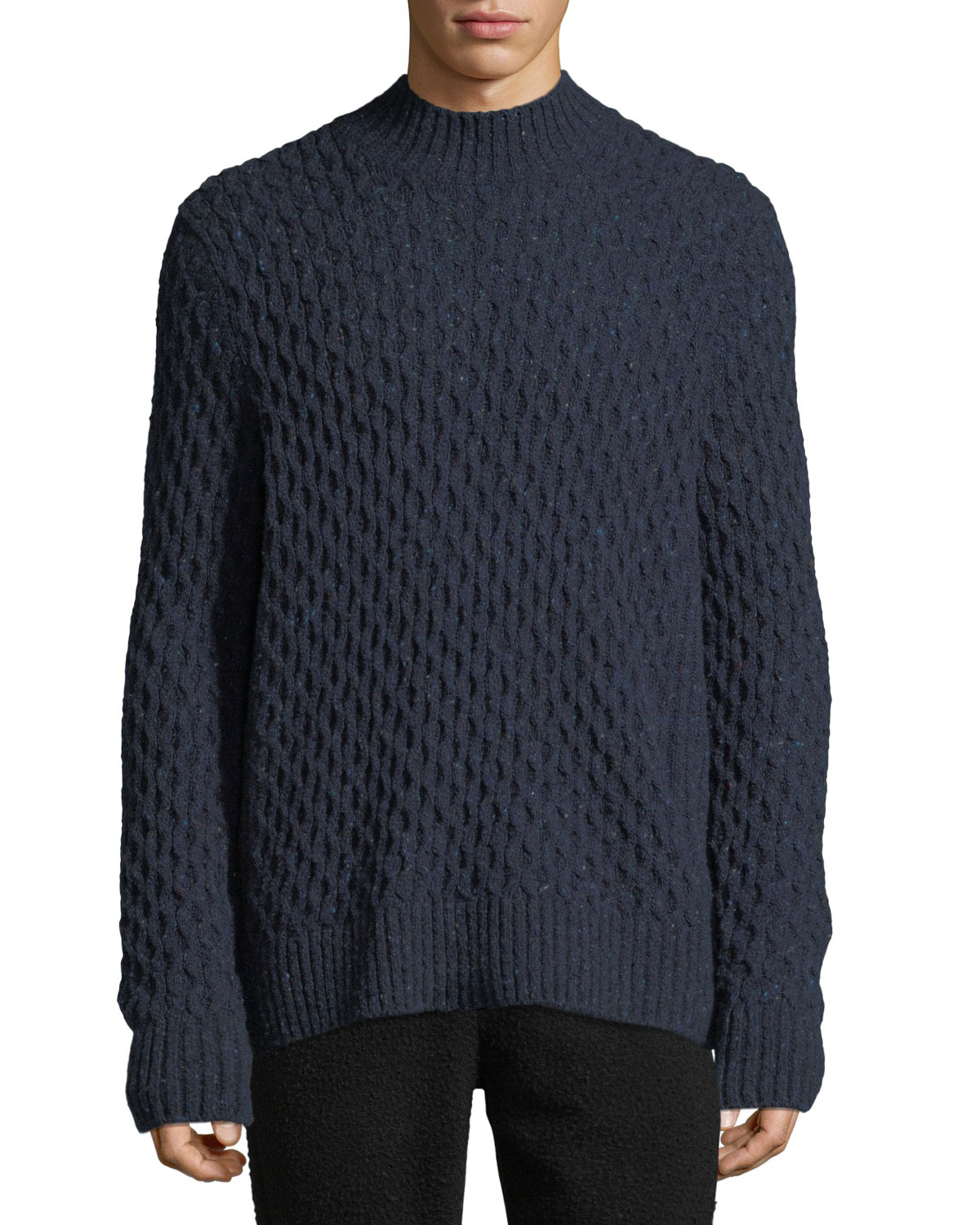 Men's Mock Neck Honeycomb Knit Wool Blend Sweater by Vince