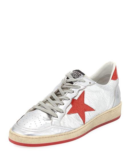 GOLDEN GOOSE Men'S Ball Glitter Star Low-Top Sneakers, Silver-Red Glitter- Star Dance