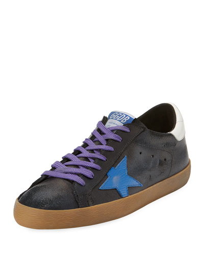 Men's Superstar Leather Low-Top Sneakers with Contrast Laces
