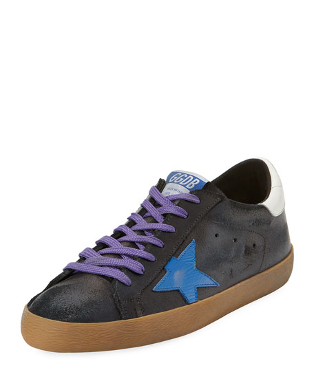 GOLDEN GOOSE Men'S Superstar Leather Low-Top Sneakers With Contrast Laces, Black Crack-Blue Star