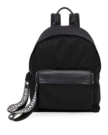 Men's Nylon Backpack w/ Leather Trim
