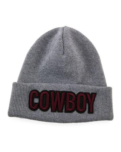 Men's Cowboy Patch Wool Beanie Hat