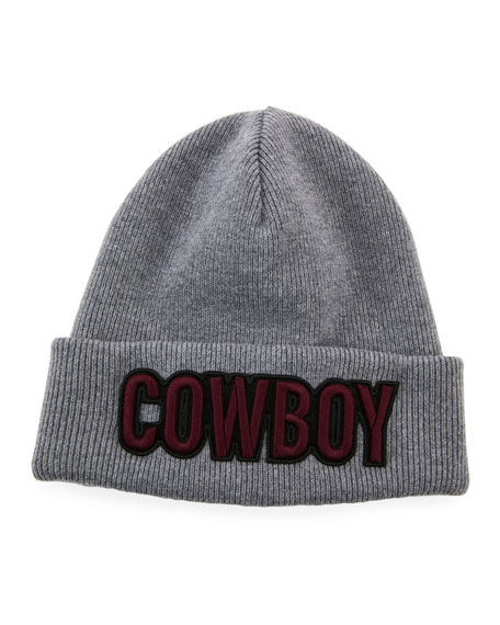 Men's Cowboy Patch Wool Beanie Hat