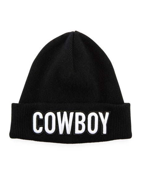Dsquared2 Men's Cowboy Patch Ribbed Beanie Hat