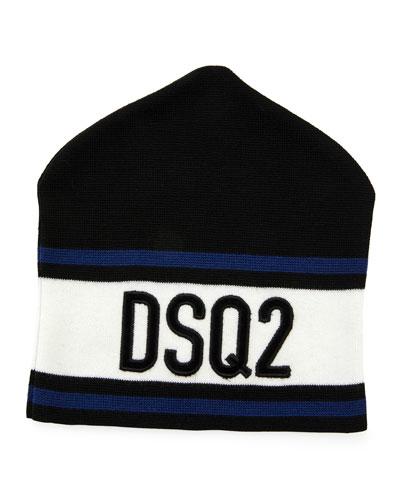 Men's Striped Logo Beanie Hat