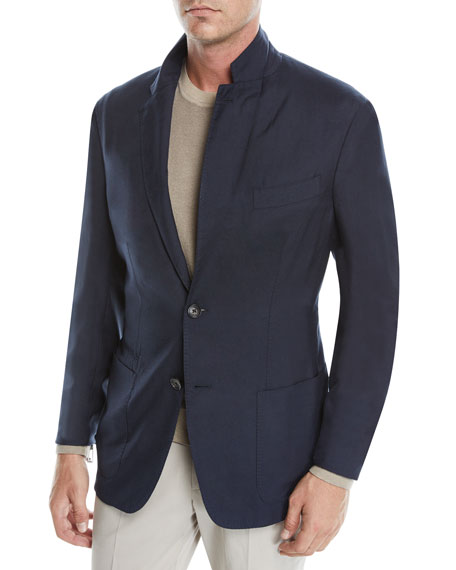 Men's Cashmere-Silk Two-Button Blazer Jacket, Navy