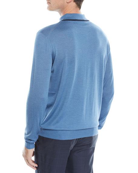 Men's Wool-Silk Long-Sleeve Polo Shirt