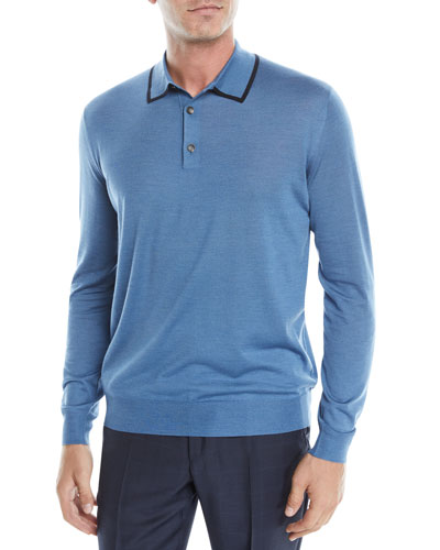 Men's Wool-Silk Long-Sleeve Polo Shirt
