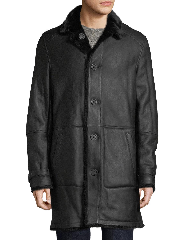 4d062764c7a6 Yves Solomon Men s Lamb Leather Shearling Fur-Lined Coat