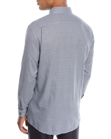 Men's Woven Small-Check Sport Shirt
