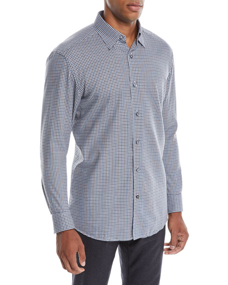 Ermenegildo Zegna Men's Woven Small-Check Sport Shirt