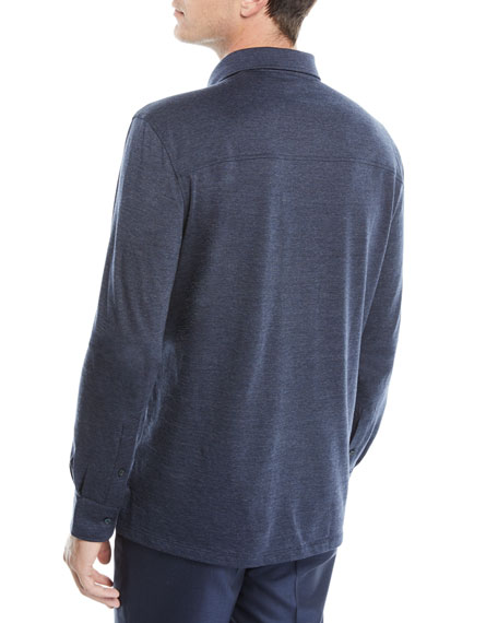 Men's Wool-Blend Long-Sleeve Polo Shirt