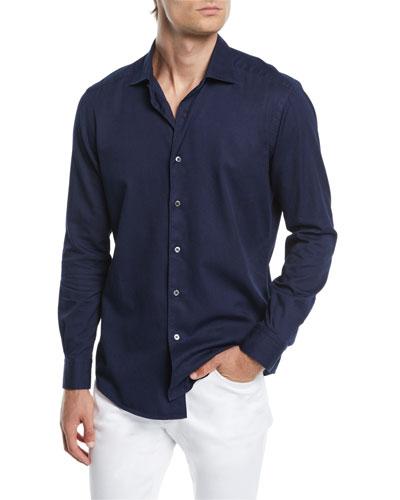 Men's Denim-Style Sport Shirt