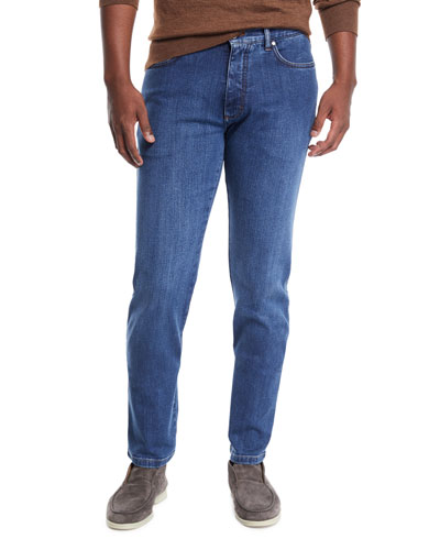 Men's Stretch-Denim Straight-Leg Jeans