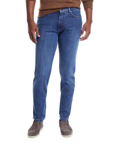 Ermenegildo Zegna Men's Stretch-Denim Straight-Leg Jeans