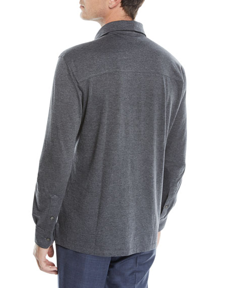 Men's Cotton-Blend Long-Sleeve Polo Shirt
