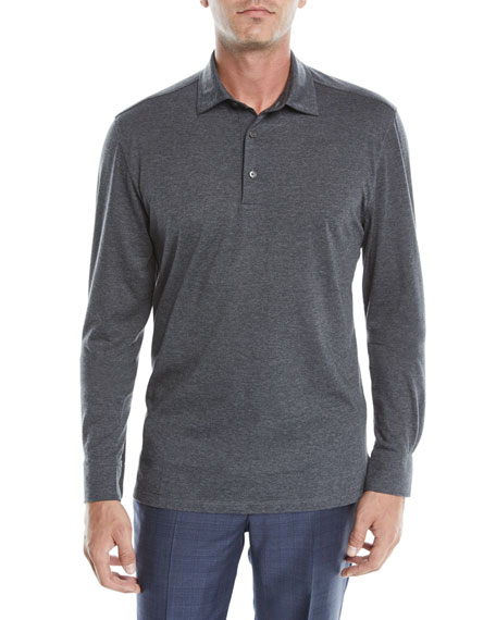 Ermenegildo Zegna Men's Cotton-Blend Long-Sleeve Polo Shirt