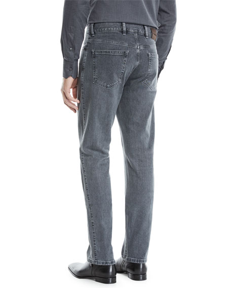 Men's Straight-Leg Stretch-Denim Jeans, Gray-Black