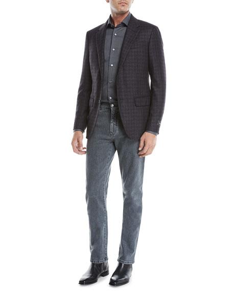 Men's Straight-Leg Stretch-Denim Jeans, Gray-Black