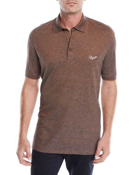 Ermenegildo Zegna Men's Vicuna Logo Short-Sleeve Polo Shirt