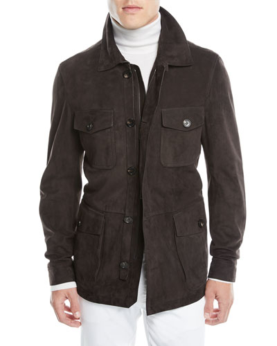 Men's Suede Zip-Front Field Jacket