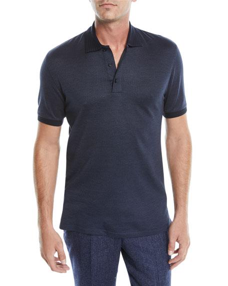 Ermenegildo Zegna Men's Micro-Print Polo Shirt