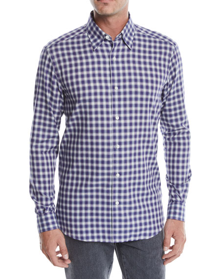 Ermenegildo Zegna Men's Plaid Cotton Sport Shirt