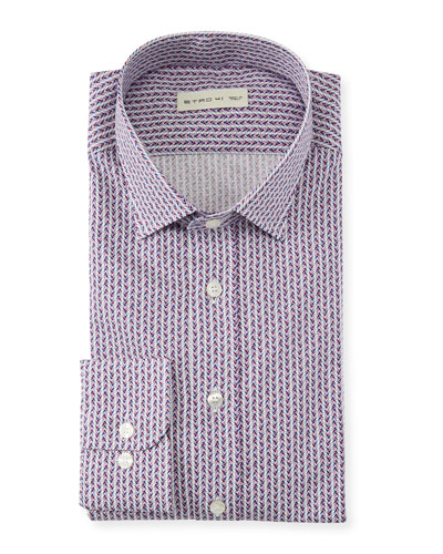 Etro Men\u0027s Geometric Diamond Dress Shirt