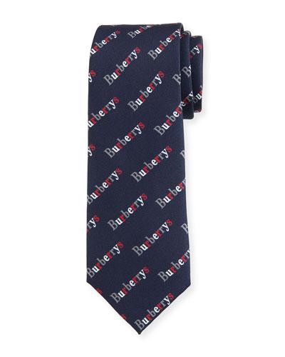Men's Heritage Burberry's Logo-Print Tie, Navy