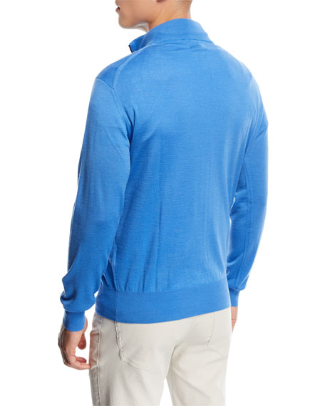 Wool-Silk Half-Zip Sweater