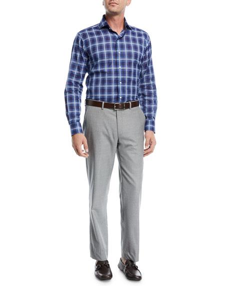 Multi-Season Wool Flat-Front Trousers