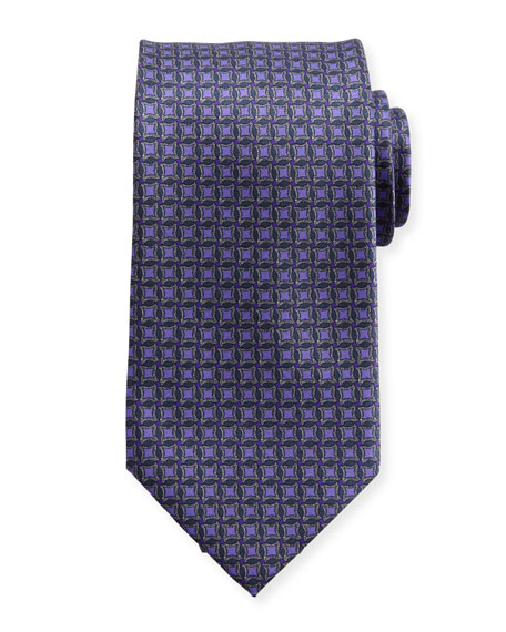 Brioni Interlocked-Circle Printed Silk Tie