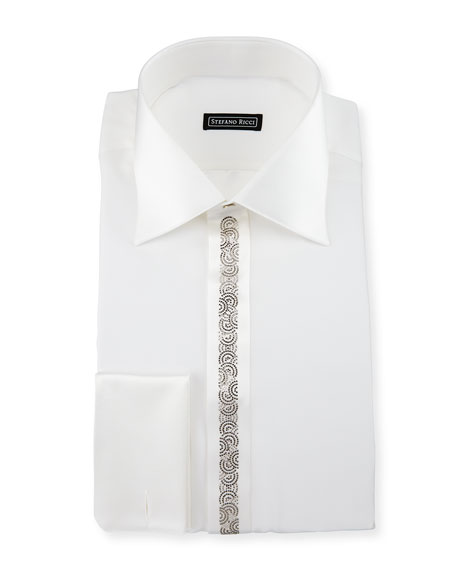 Crystal-Placket Silk Tuxedo Shirt