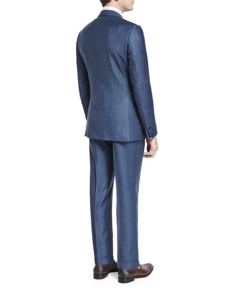 Sharkskin Silk-Blend Two-Piece Suit, Blue