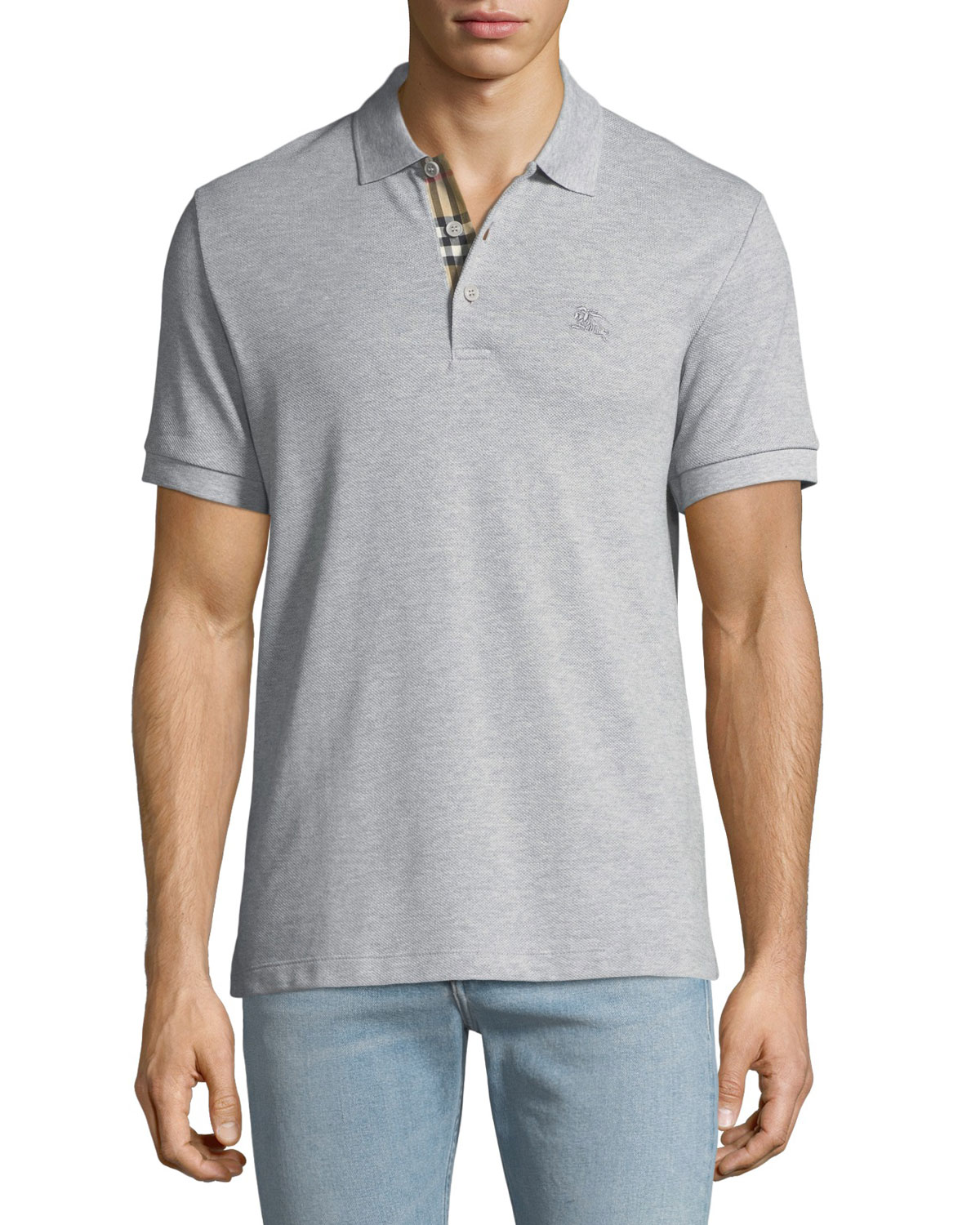 6cc820931f04 Burberry Men s Hartford Polo Shirt with Check Detail
