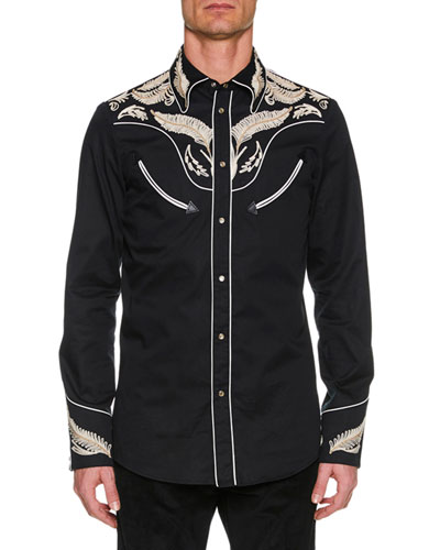 Men's Embroidered Twill Western Shirt