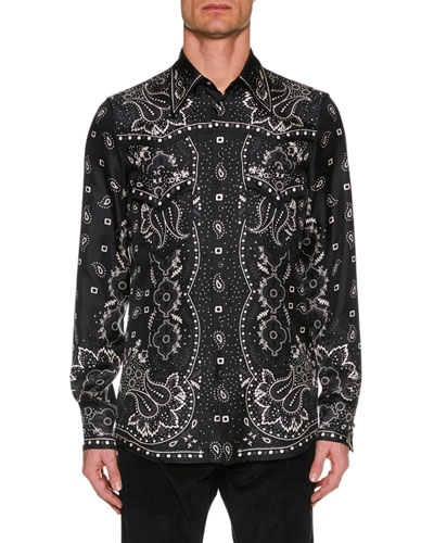 Men's Paisley Silk Western Shirt