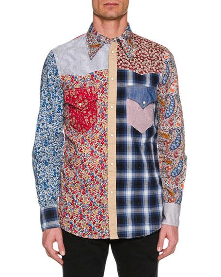 Men'S Flower-Printed Western Shirt in Blue