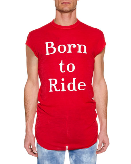 Dsquared2 Men's Born to Ride Cool-Fit Crewneck Cap-Sleeve