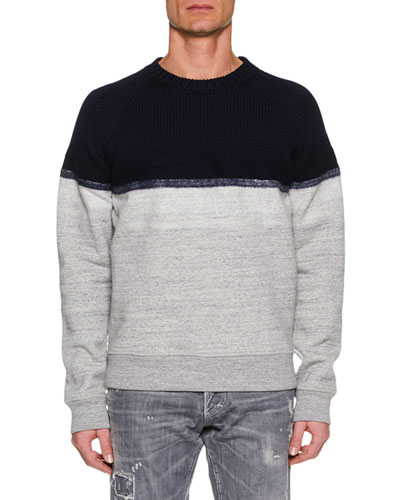 Men's Colorblock Wool-Yoke Sweater