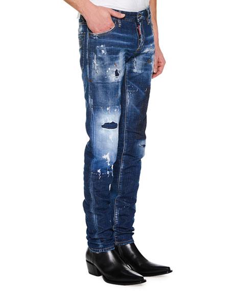 Men's Super Patched Bleached Slim-Fit Jeans