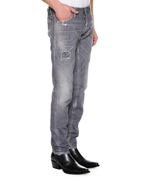 Men's Distressed Slim-Fit Jeans