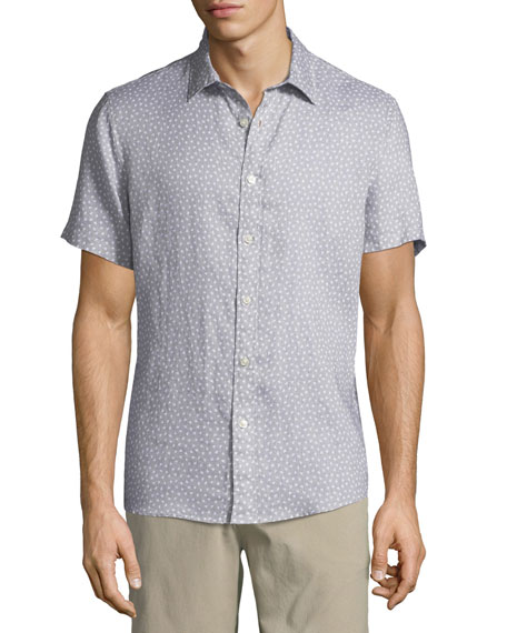 Men's Short-Sleeve Printed Linen Button-Down Shirt