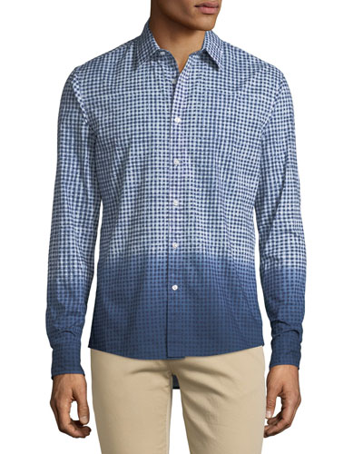 Men's Dip-Dyed Gingham Button-Down Shirt