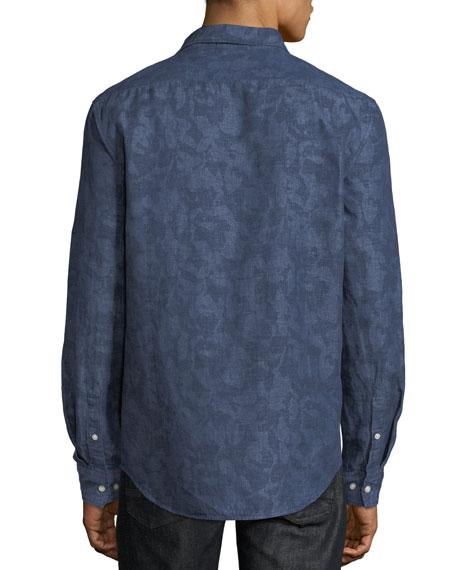 Men's Camo-Print Linen/Cotton Button-Down Shirt