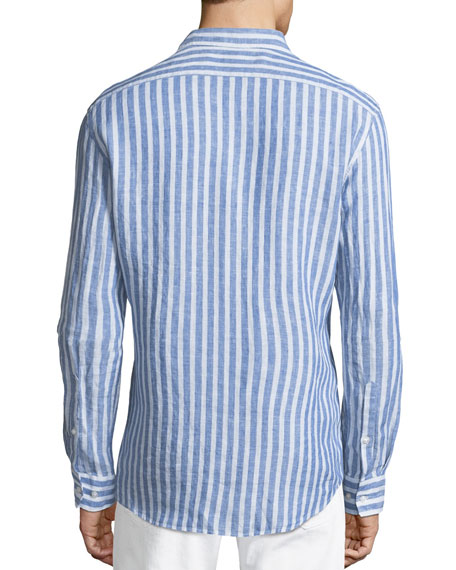 Men's Slim Fit Striped Linen Button-Down Shirt