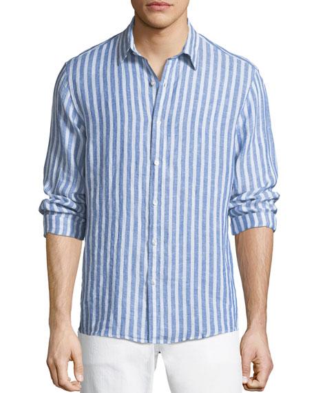 Michael Kors Men's Slim Fit Striped Linen Button-Down