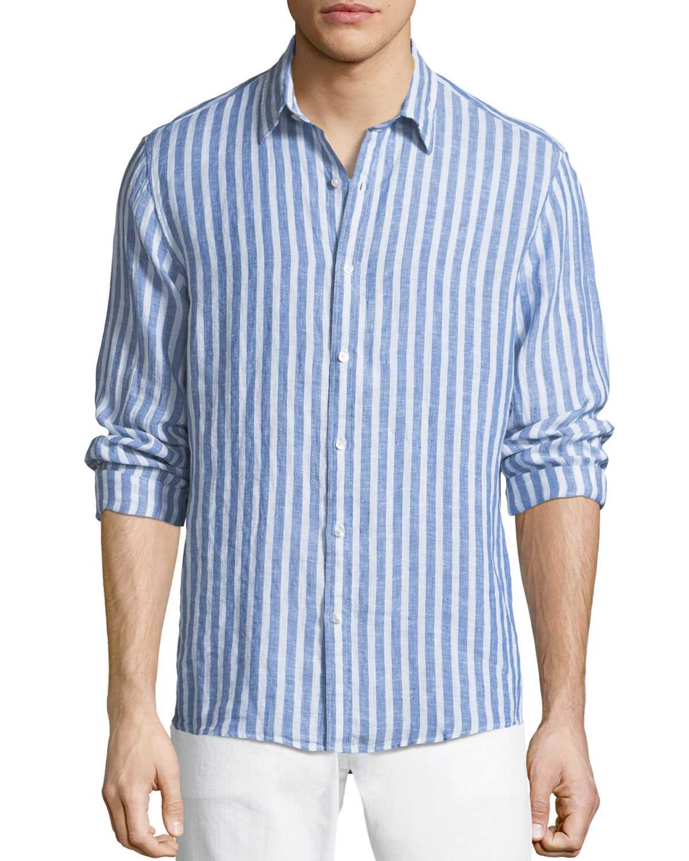 Michael Kors Men s Slim Fit Striped Linen Button-Down Shirt  2ff586f5b1fda