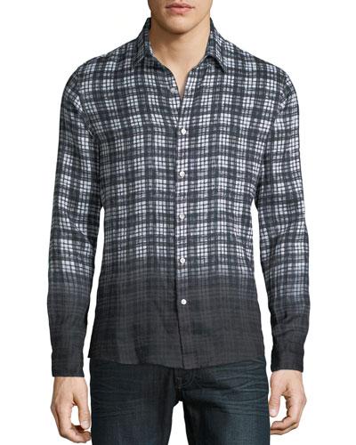 Men's Dip-Dyed Madras Plaid Linen Button-Down Shirt
